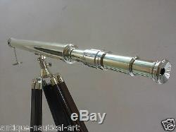 Brass Antique Telescope With Wooden Tripod Stand Vintage Decorative