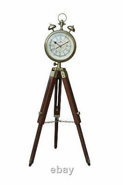 Brass Clock With Adjustable Wooden Tripod Stand Vintage Home Decorative Item