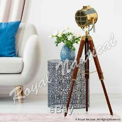 Brass Heavy Duty Premium Wooden LED Tripod Floor Lamp Vintage Antique Style