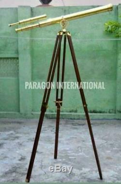 Brass Nautical Telescopes Double Barrel Tripod Stand Vintage Spyglass Marine