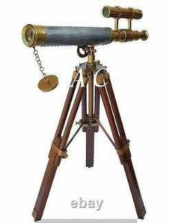 Brass Telescope Wooden Tripod Stand Nautical Marine Antique Vintage Decor Spygla