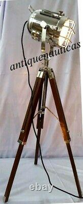 Brass Vintage Searchlight Table Lamp Nautical Spotlight Wooden Tripod Light