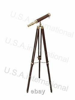 Brass/wood Telescope With Tripod Stand Nautical Vintage Telescope