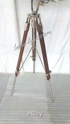 CHROME Tripod Spot Light Vintage Industrial Metal & Wood Tripod Lamp Decorative