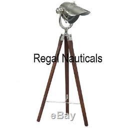 Captain Style Vintage Floor Lamp Searchlight Wooden Tripod Home Decor lamp