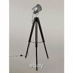 Chrome Spotlight Adjustable Tripod Floor Lamp Wooden Retro Vintage Industrial