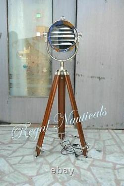Chrome Vintage Industrial Designer Nautical Spot Light Tripod Floor Lamp Retro