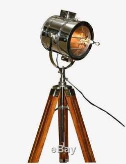 Chrome look Vintage Design searchlight Spotlight Telescopic Tripod Floor lamp