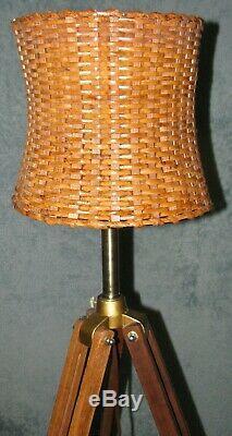 Classic Wooden Tripod Vintage Looks Lighting Stand Floor Lamp Light