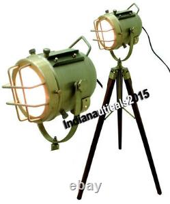 Classical Vintage Industrial Floor Lamp With Wooden Tripod Stand Retro Style
