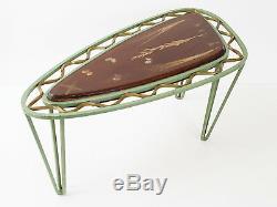 Coffee Table Extra Tripod Metal Resin Inclusions Herbarium 1950 Vintage 50'S