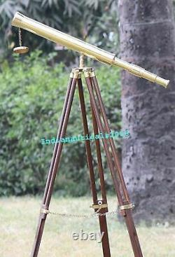 Collectible Vintage Single Barrel Brass Telescope With Brown Wooden Tripod Stand