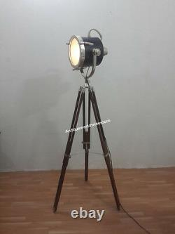 Collectible Vintage decorative Spotlight Hollywood Lamp with heavy Wooden Tripod