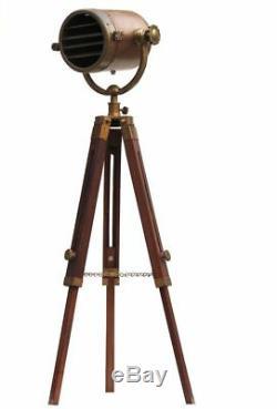 Copper Floor Lamp With Wooden Tripod Marine Studio Floor Lamp LED Vintage Floor