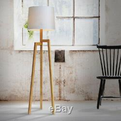 D89 Vintage E27 Height 169CM Fabric Lampshade Wood Tripod Bedroom Floor Lamp