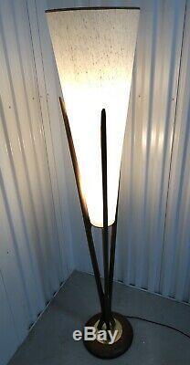 Danish Mid Century Modern 58 Tall Tripod Wood Lamp Vintage