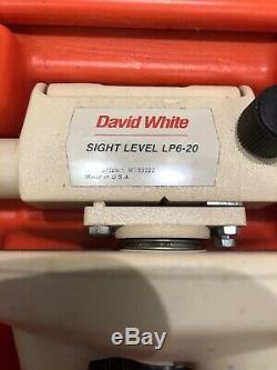 David White LP6-20 SIGHT LEVEL/w CASE, VINTAGE WOODEN TRIPOD & MEASURING STICK
