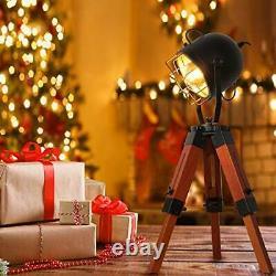 Decoluce Searchlight Tripod Wood Floor Table Lamp Vintage Industrial Standing Li