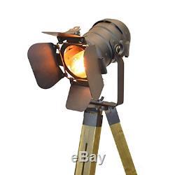 Decoluce Vintage Tripod Floor Lamp, Nautical Teatre Retro Spotlight, Industrial
