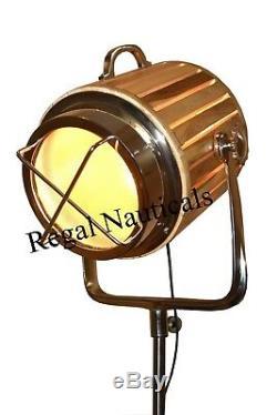Designer Marine Tripod Floor Lamps Wood Searchlight Vintage Wood Floor Tripod