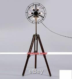 Designer fan holder lamp with handmade wooden tripod vintage home standing lamp