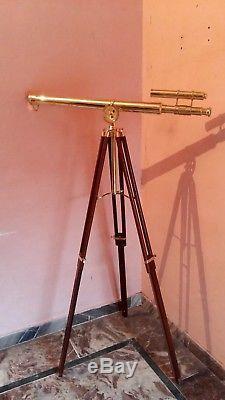Double Barrel Tripod Telescope Vintage Brass Nautical Maritime Antique Spyglass