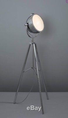 E1. Vintage Industrial Tripod Floor Standard Lamp Adjustable Lounge Lighting bhs