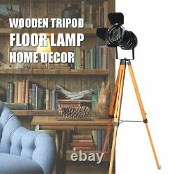 E27 Vintage Wood Tripod Floor Lamp Spotlight Home Lighting Fixture Decoration \