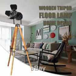 E27 Vintage Wooden Tripod Floor Lamp Spotlight Home Lighting Fixture Decoration