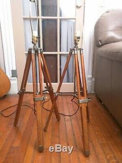 Exalsier Marine Nautical Wood Vintage Floor Lamp Wooden Tripod Stand Rare Pair