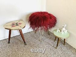 Flokati Stool, Fur Stool, Hairpin leg chair tripod stool vintage mid century 50s