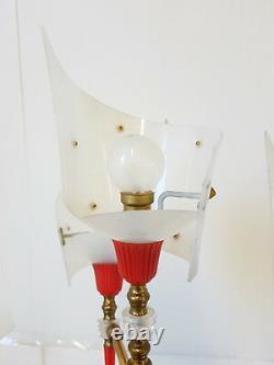 Floor Lamp Tripod Vintage 1950 Rockabilly Plexiglas Brass Steel 50S 50'S