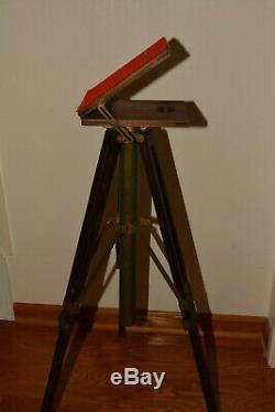 Folmer Compact Stand Vintage Wooden Platform Tripod By Folmer Graflex Corp