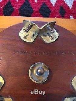 Folmer Graflex Wooden & Camera Crown Tripod No. 4 Old Vtg Antique