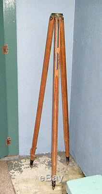 GREAT VTG 1940s OAK WOOD K&E 57 TRANSIT TRIPOD FOR MCM LAMP BASE NON EXPANDABLE