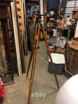 Gorgeous Vintage Wood transit surveyor tripod stand brass feet orig finish 59