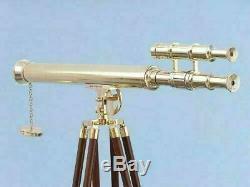 Handmade Brass Navy Telescope Double Barrel Vintage With Wooden Tripod Maritime
