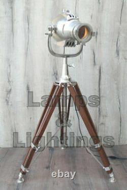 Handmade Home Spotlight Floor Lamp Decor. Wooden Hinds Tripod Aluminum Vintage