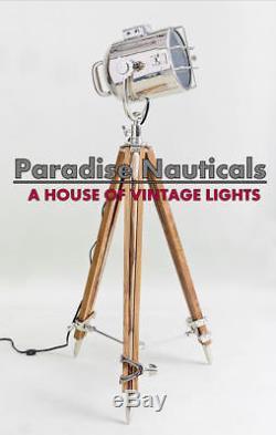 Handmade Spot Light Vintage Industrial Wooden Tripod Floor Lamp Decor