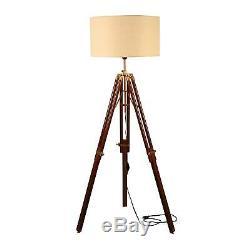 Handmade Tripod Floor Shade Lamp Antique Look Light Marine Vintage Lamp Item