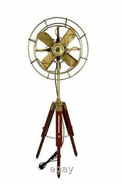Handmade Vintage Style Antique Electric Fan With Wooden Tripod Stand Home Decor