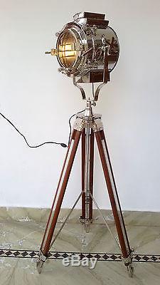 Hollywood Nautical Vintage Spotlight Wooden Heavy Tripod Big Light Floor Lamp