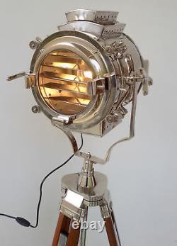 Hollywood Nautical Vintage Wooden Heavy Tripod Spotlight Big Light Floor Lamp