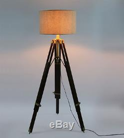 Hollywood Spot Light Floor Lamp With Brass Tripod Stand Vintage Collectible