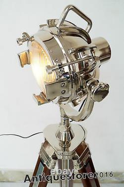Hollywood Vintage Designer Industrial Nautical Spotlight Tripod Floor Lamp Decor