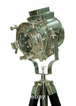 Hollywood nautical vintage searchlight floor lamp spotlight on wooden tripod