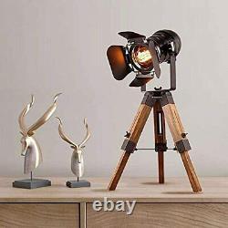 Home Modern Industrial Vintage Tripod Floor Table Lamp Metal Wooden Cinema