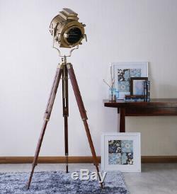 Illuminative Tripod Triple Fold Brass Vintage Spotlight Nautical Floor Lamp