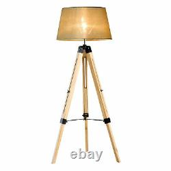 Indoor Home Vintage Floor Retro Wooden Tall Lampshade Free Standing Tripod