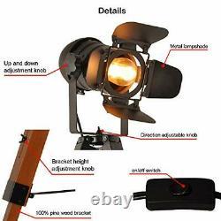 Industrial Tripod Floor Table Lamp Vintage Wood Cinema Searchlight Searchlight